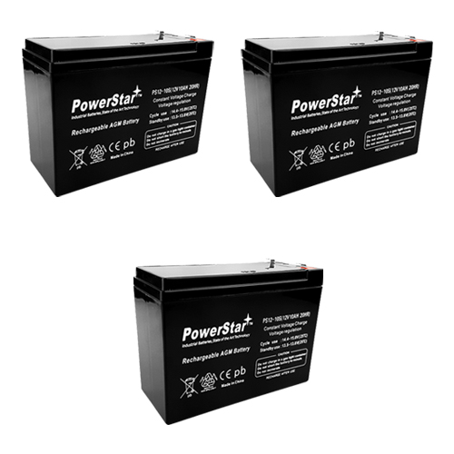 PowerStar 12v 10ah Slim battery for Minimoto Scooters and Electric Bikes  (3 pack,3 batteries)