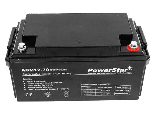 PowerStar 70Ah 12V Backup Sump Pump System Battery WSB1275