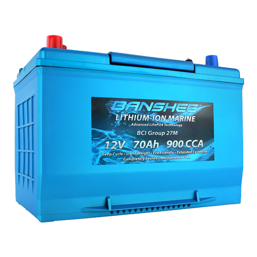 Deep Cycle Lithium Ion Marine Battery Group 27 Dual Terminal Replaces Optima D27M Blue Top 900CCA