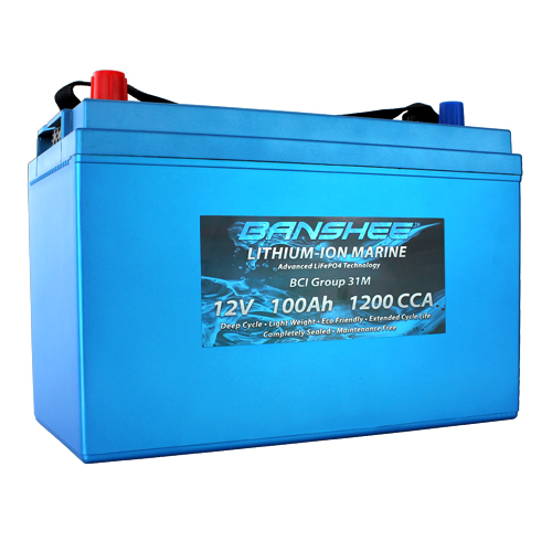 Deep Cycle Lithium Ion Marine Battery Group 31 Dual Terminal Replaces Optima D31M Blue Top 1200CCA