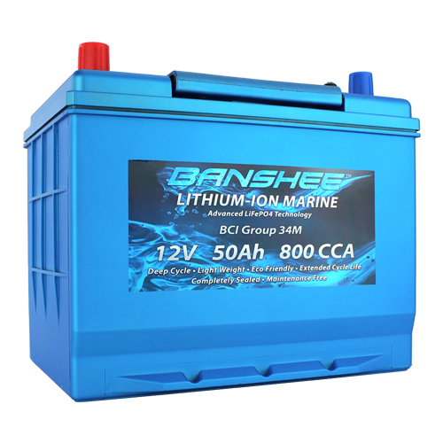 Deep Cycle Lithium Ion Marine Battery Group 34 Dual Terminal Replaces Optima 34M Blue Top 800CCA