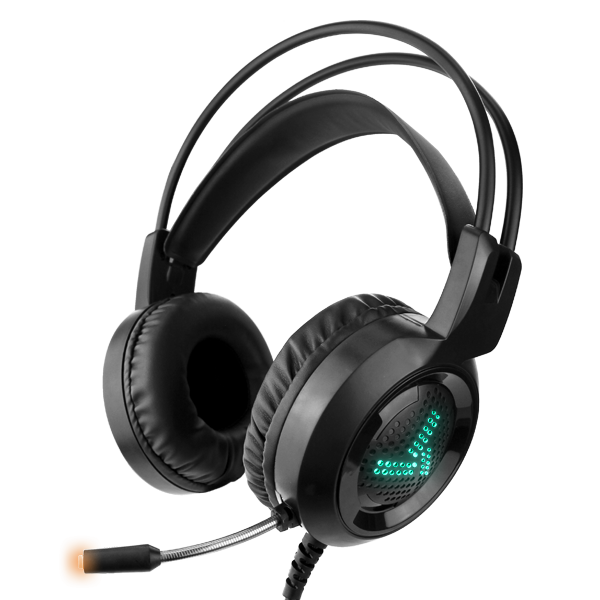 Black PC USB Gaming Headset With Built-In Mic & RGB LED Lights
