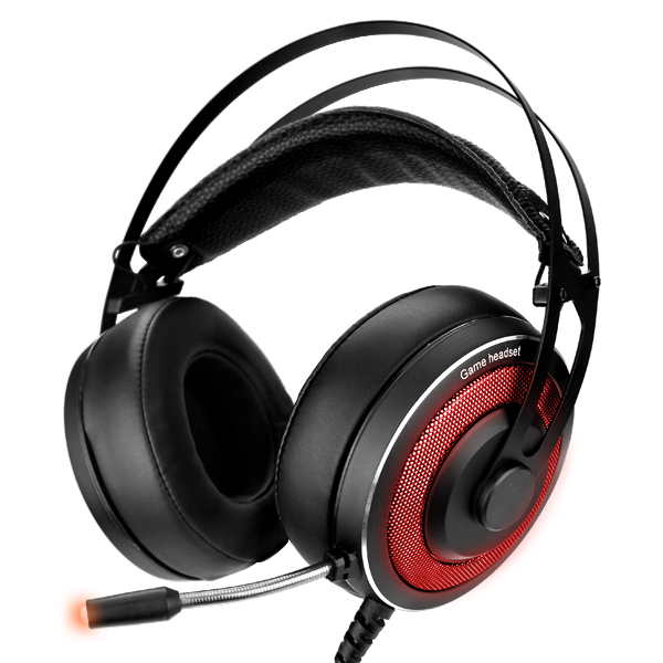 Black PC Gaming Headset With Built-In Mic & RGB LED Lights