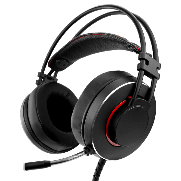 Black PC Gaming Headset With Built-In Mic & Red LED Lights
