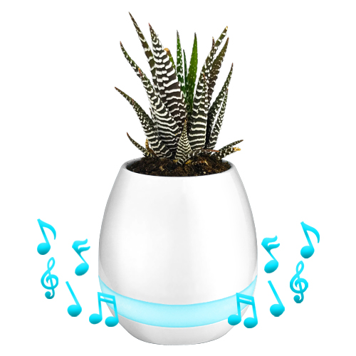 LED Smart Bluetooth Speaker Plant Music Player Flower Pot Vase Piano Night Light