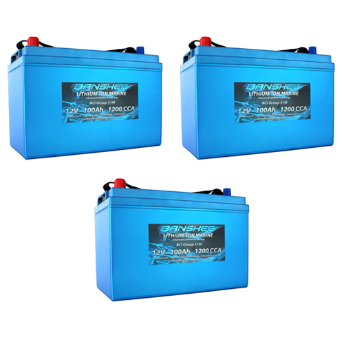 Banshee 36V Lithium Deep Cycle Solar Battery Group 31 - 3 Pack