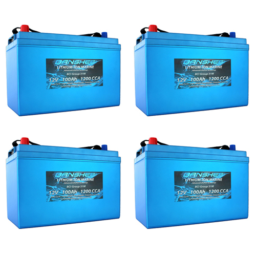 Banshee 48V Lithium Deep Cycle Solar Battery Group 31 - 4 Pack