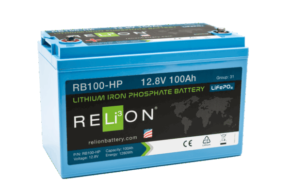 RELiON RB100-HP 12V 100Ah Deep Cycle Lithium LiFePO4 Battery