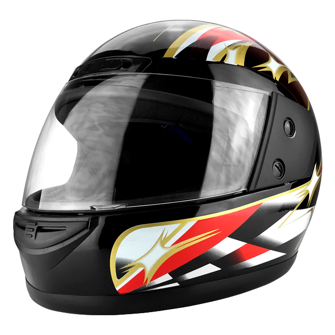 Full Face Racing Helmet With Flip Up Visor Gloss Black