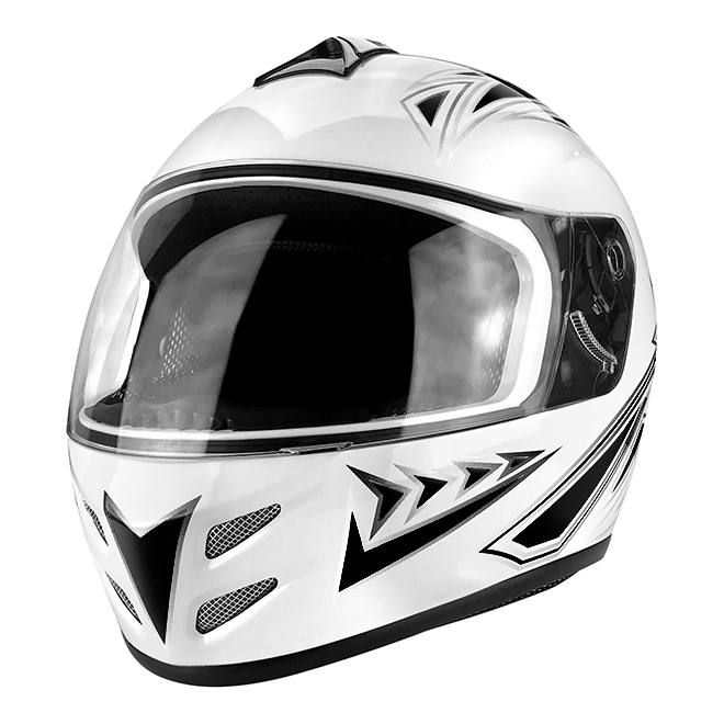 Full Face Motorcycle Helmet With Flip Up Visor Gloss White / Black