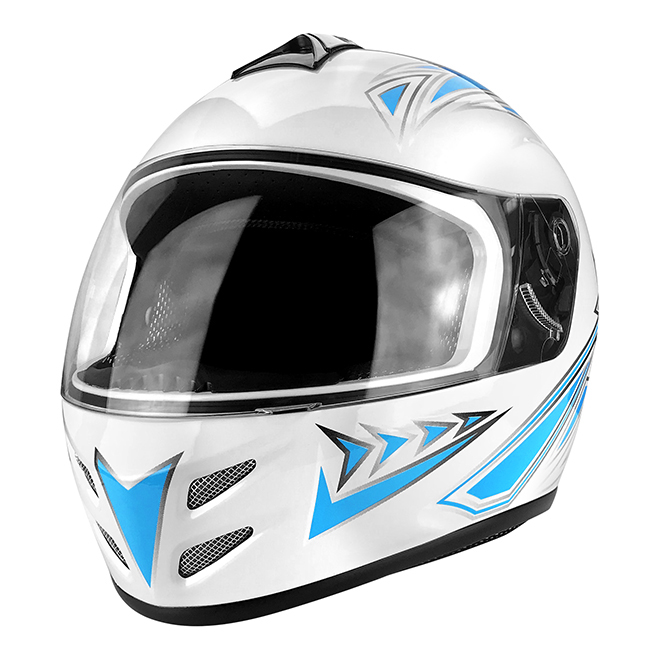 Full Face Motorcycle Helmet With Flip Up Visor Gloss White / Blue