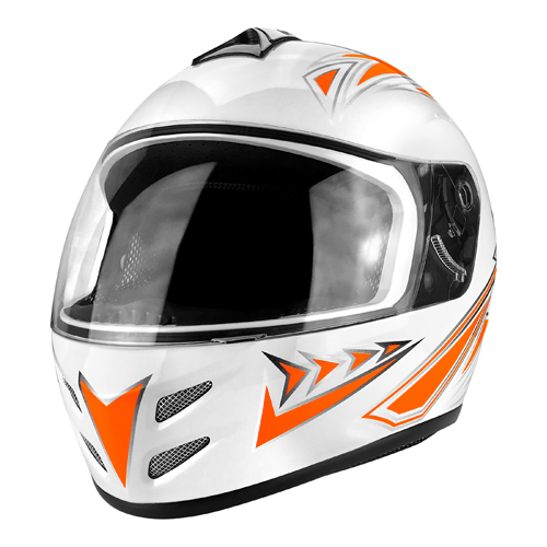 Full Face Motorcycle Helmet With Flip Up Visor Gloss White / Orange