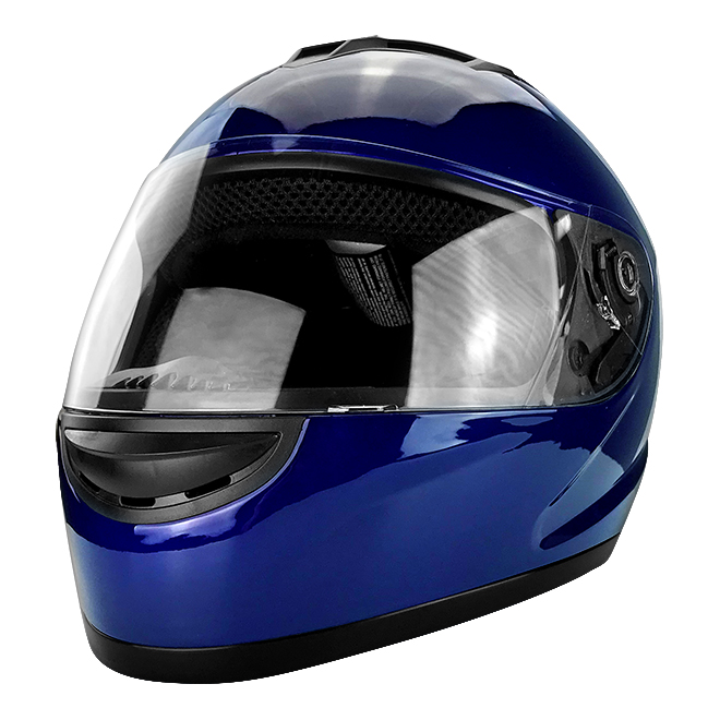 Full Face Motorcycle Helmet With Flip Up Visor Gloss Blue