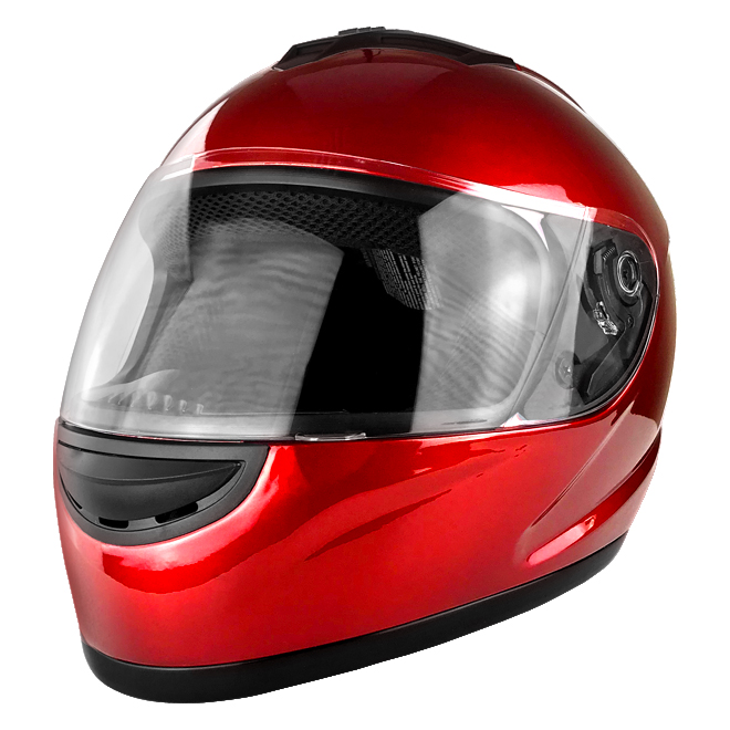 Full Face Motorcycle Helmet With Flip Up Visor Gloss Red