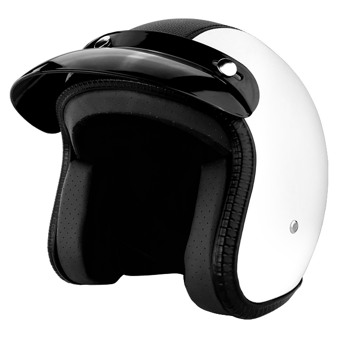 3/4 Open Face Motorcycle Helmet With Visor White Leather With Black Stripe