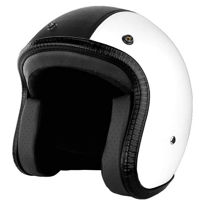 3 4 Open Face Motorcycle Helmet With Visor White Leather With Black
