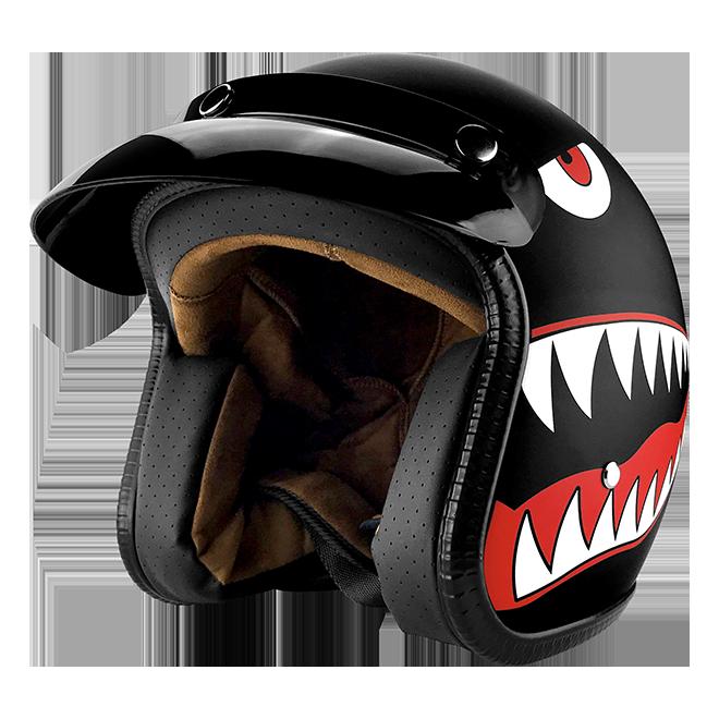 3/4 Open Face Motorcycle Helmet With Visor Matte Finish Black Shark