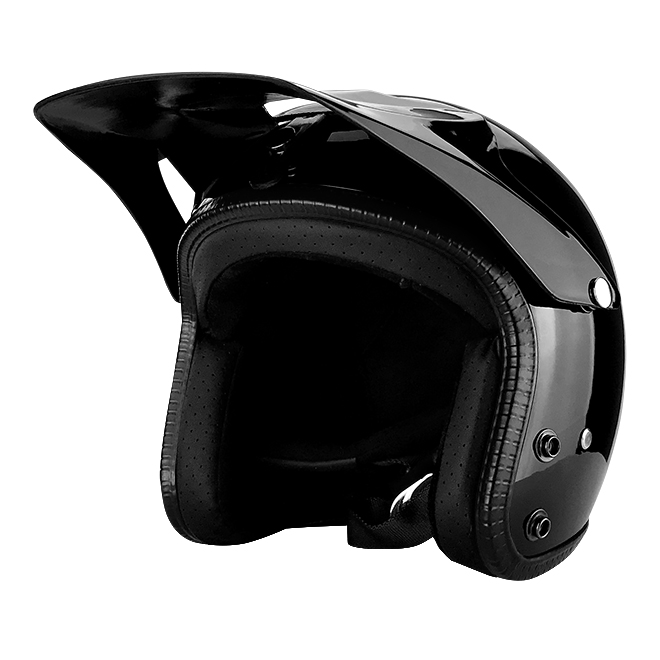 3 4 Open Face Motorcycle Helmet With Off Road Visor Gloss Black
