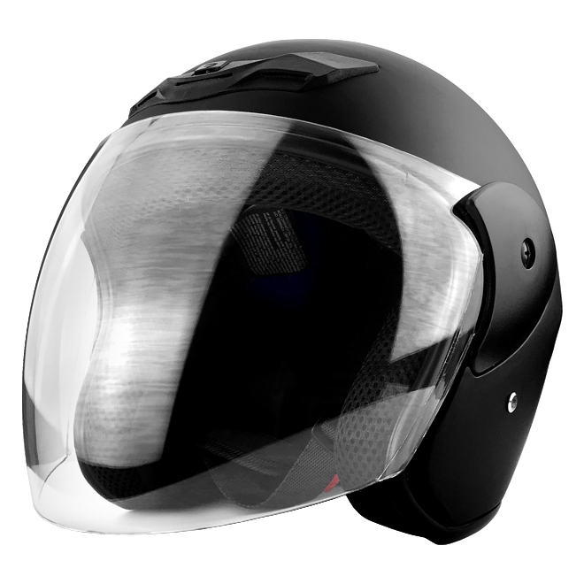 3/4 Open Face Motorcycle Helmet With Face Shield Matte Black