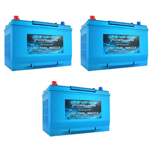 Banshee 36V Lithium Deep Cycle Marine Battery Group 27 - 3 Pack