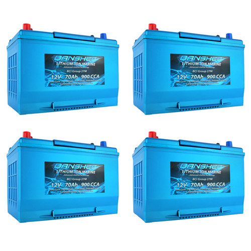 Banshee 48V Lithium Deep Cycle Marine Battery Group 27 - 4 Pack