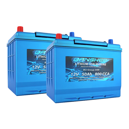 Banshee 24V Lithium Deep Cycle Marine Battery Group 34 - 2 Pack