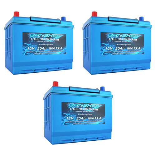 Banshee 36V Lithium Deep Cycle Marine Battery Group 34 - 3 Pack