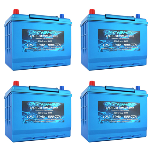 Banshee 48V Lithium Deep Cycle Marine Battery Group 34 - 4 Pack
