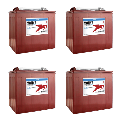 Trojan T-105 GC2 6V 225Ah Deep Cycle Flooded Lead Acid Battery x4