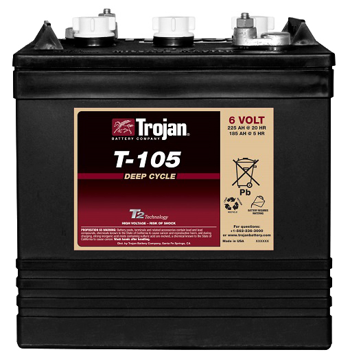 Lot of 6 Trojan T-105-OE Golf Cart Batteries with Free Truck Shipping