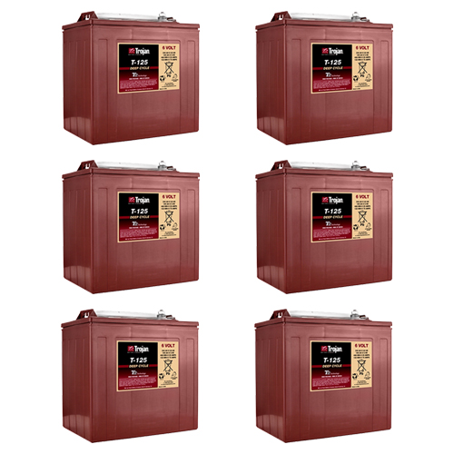 Trojan T-125 6V 240Ah Flooded Lead Acid GC2 Deep Cycle Battery x6