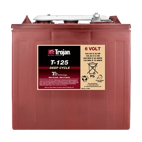 Lot of 6 Trojan T-125 Golf Cart Batteries with Free Truck Shipping