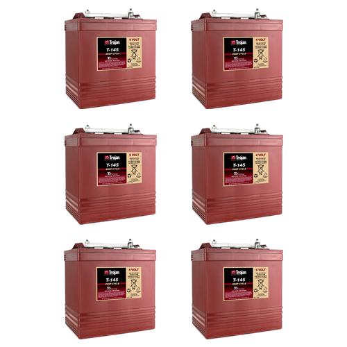 Trojan T145 6 Volt, 260 AH Deep Cycle Battery - 6 Pack