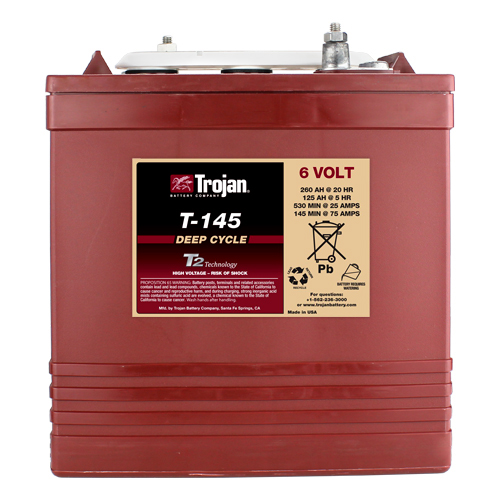 Trojan T145 6 Volt, 260 AH Deep Cycle Battery - 6 Pack