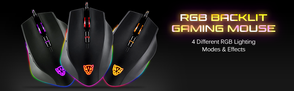 Wired Gaming Mouse RGB Spectrum Backlit Ergonomic Mouse Programmable Buttons up to 5000 DPI for Windows PC Gamers