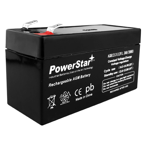 PowerStar--12V 1.3AH (SBS12-1.2) Maintenance-free Sealed Lead Acid (SLA) Battery