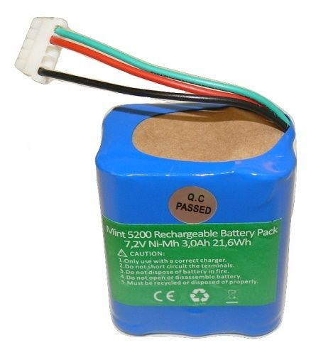 iRobot Braava 380T & Mint 5200/5200B/5200C 3000mAh High Capacity 7.2V Replacement Battery