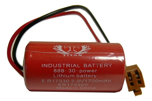 ER17330V 3.6V 1700mAh PLC Lithium Battery - With Brown Connector