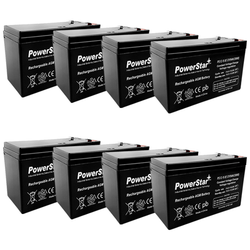 PowerStar--8x 12V 9AH SLA Battery for RBC12 RBC26 RBC27
