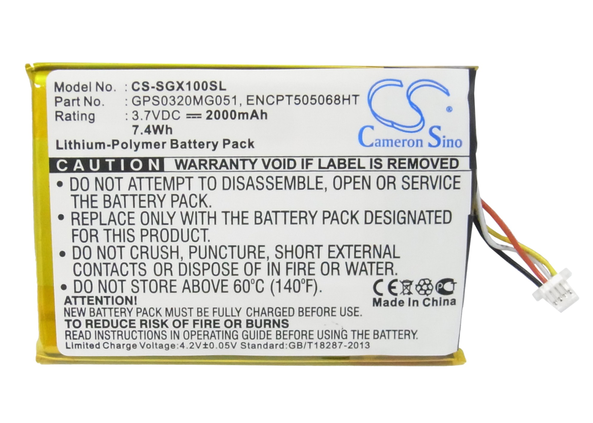 ENCPT505068HT Replacement Battery for SkyCaddie SGX / SGXw Pocket-Sized Golf GPS