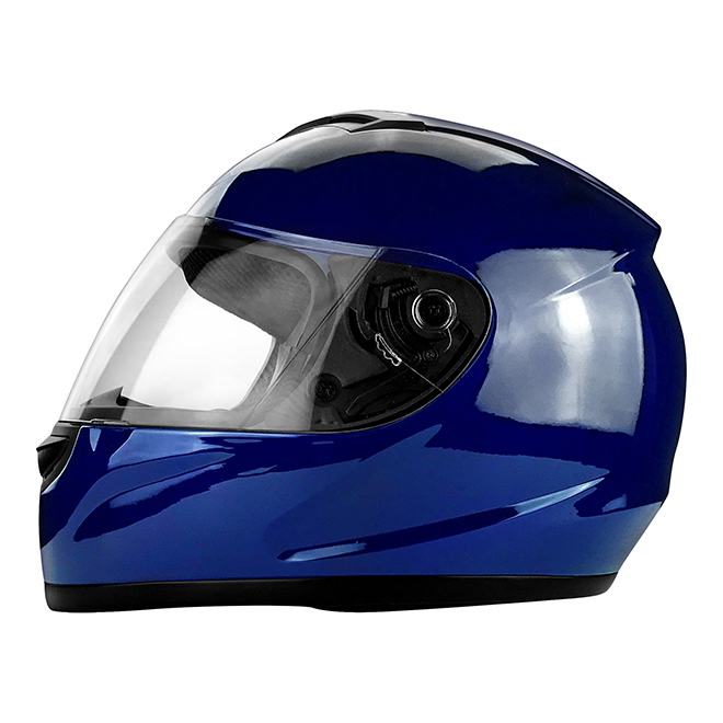 Full Face Deep Blue Motorcycle Helmet w/ Clear Flip Up Visor - DOT Approved