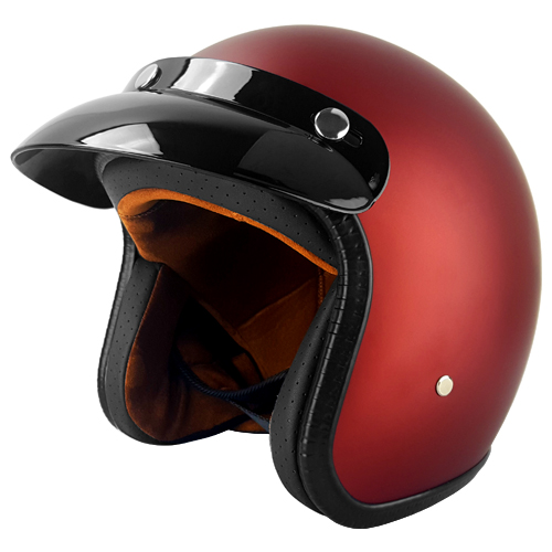 3 4 Open Face Motorcycle Helmet With Visor Matte Rust Red Dot 3 Year